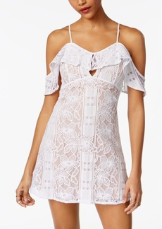Xoxo Juniors' Lace Ruffled Cold-Shoulder Dress
