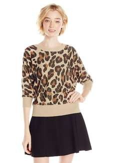 XOXO Junior's Leopard Button Back Pullover Sweater