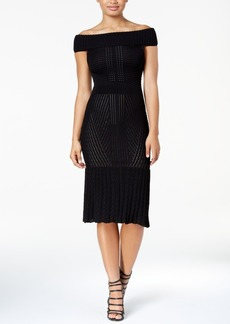 Xoxo Juniors' Off-The-Shoulder Mixed-Knit Sweater Dress