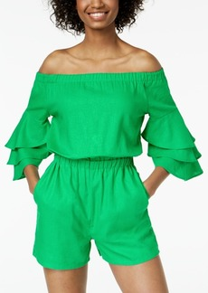 Xoxo Juniors' Off-The-Shoulder Tiered-Sleeve Romper