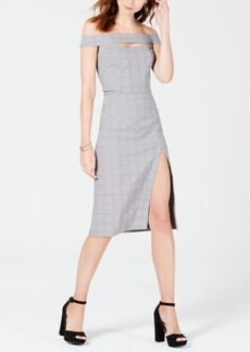Xoxo Juniors' Plaid Off-The-Shoulder Sheath Dress