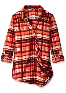 XOXO Junior's Plaid Wrap Front Hi-Low Top
