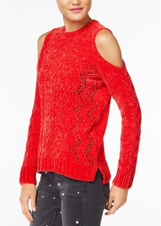 Xoxo Juniors' Pointelle Cold-Shoulder Sweater
