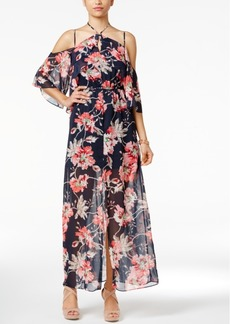 Xoxo Juniors' Printed Ruffled Cold-Shoulder Dress