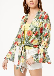 Xoxo Juniors' Printed Tie-Front Top