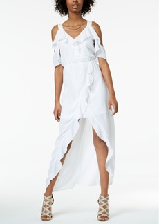 Xoxo Juniors' Ruffled Cold-Shoulder High-Low Maxi Dress