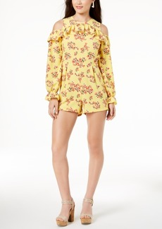 Xoxo Juniors' Ruffled Cold-Shoulder Romper