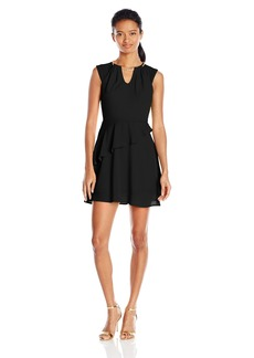 XOXO Women's Sleeveless Chain-Neck Dress with Ruffle