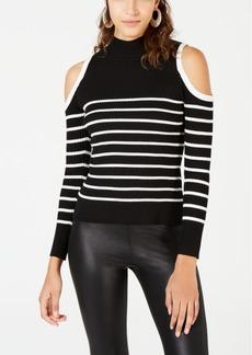 Xoxo Juniors' Striped Cold-Shoulder Sweater