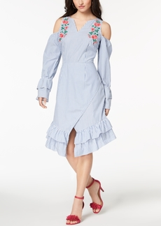 Xoxo Juniors' Striped Embroidered Wrap Dress