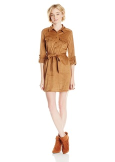 XOXO Junior's Suede Pullover Belted Shirt Dress