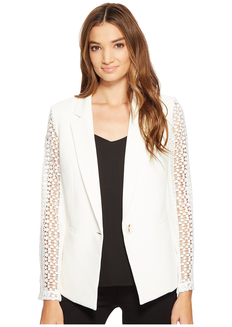 XOXO Lace Contrast Jacket w/ Welt Pockets
