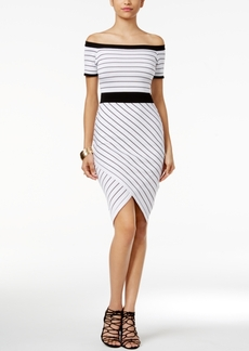 Xoxo Off-The-Shoulder Striped Bodycon Dress