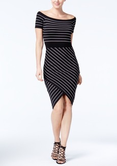 Xoxo Off-The-Shoulder Striped Bodycon Dress