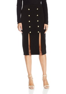 """XOXO Women's 27 1/2"""" Front Slit Military Pencil Skirt with Gold Butotns"""