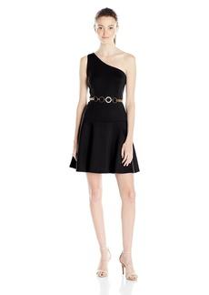 XOXO Women's 31-One-Shoulder Belted Dress