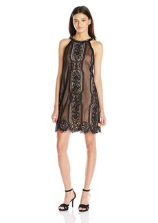 "XOXO Women's 32"" Halter Lace Trapeze Dress"