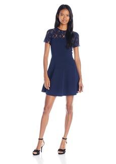 "XOXO Women's 33"" Contrast Lace Yoke Fit and Flare Dress"