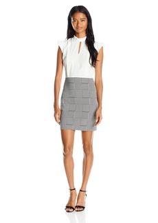 """XOXO Women's 34"""" Ruffle Neck Contrast Jacquard Dress"""