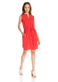 XOXO Women's 36 3/4 inch Sleeveless Drawstring Waist Dress with Pockets