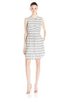 XOXO Women's 36 Three-Quarter inch Printed Sleeveless Drawstring Waist Dress with Pockets
