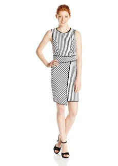 XOXO Women's 37 Inch Striped Asymmetrical Sleeveless Sheath Dress