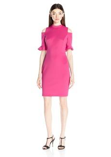 "XOXO Women's 41"" Cold Shoulder Ruffle Sleeve Dress"