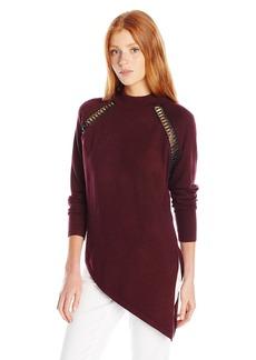 XOXO Women's Asymmetrical Hem Mock Neck Sweater