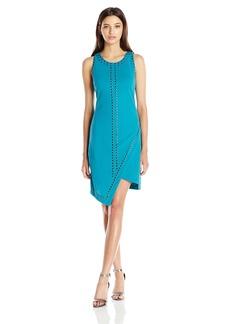 XOXO Women's Asymmetrical Studded Crepe Dress