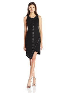 XOXO Women's Asymmetrical Studded Crepe Dress
