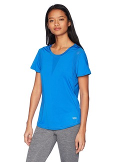 XOXO Women's Athletic Stretch Jersey Tee Shirt with Mesh Panels  M