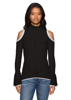 XOXO Women's Bell Sleeve Rib Cold Shoulder Sweater