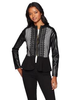XOXO Women's Braided Stripe Mesh Peplum Pleather Jacket