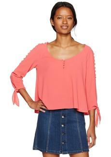 XOXO Women's Button Up Ocld Shoulder Top