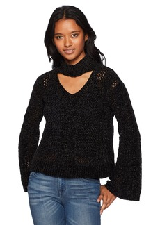XOXO Women's Cable Gigi Neck Chenille Bell Sleeve Pullover Sweater