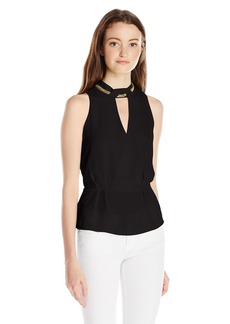 XOXO Women's Chain-Neck Peplum Top
