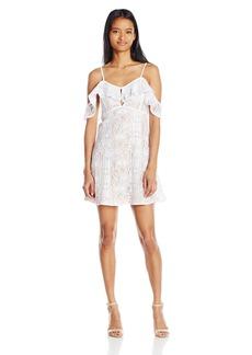 XOXO Women's Cold Shoulder Floral Lace Dress