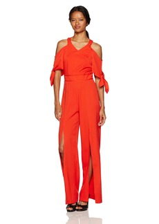 XOXO Women's Cold Shoulder Vneck Jumpsuit With Slits