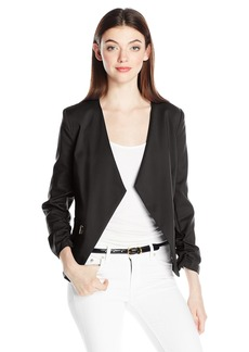 XOXO Women's Collar Less Jacket W/ Rushed Sleeves and Zip Pockets
