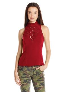 XOXO Women's Contrast Lace Cutout Top
