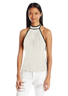 XOXO Women's Contrast Piped Halter Top