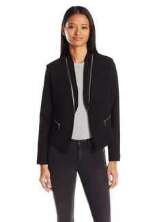 XOXO Women's Crepe Zip Collar Jacket