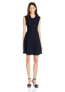 XOXO Women's Dot Jacquard Fit and Flare Dress