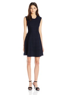 XOXO Women's Dot Jacquard Fit and Flare Dress