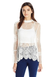 XOXO Women's Double Scallop 'Lace Bell Sleeve Blouse