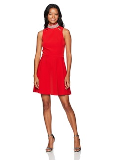 XOXO Women's Embellished Mockneck Fit and Flare Dress