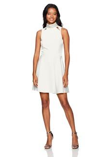 XOXO Women's Embellished Mockneck Fit and Flare Dress