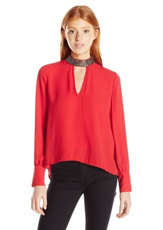 XOXO Women's Embellished Neck Double Keyhole Blouse
