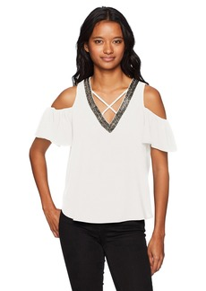 XOXO Women's Embellished Sparkly Off The Shoulder Top