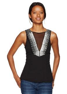 XOXO Women's Embellished V-Neck Top